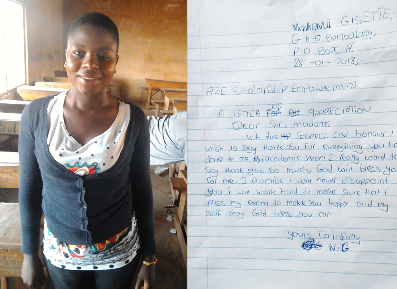 Letter and picture of Gisette Nkwkanui