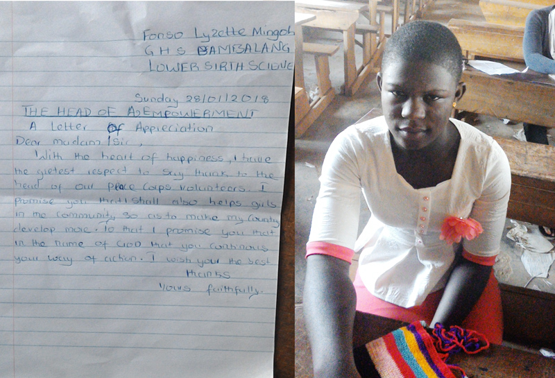 Letter and picture of Fonso Lyzette Mingoh